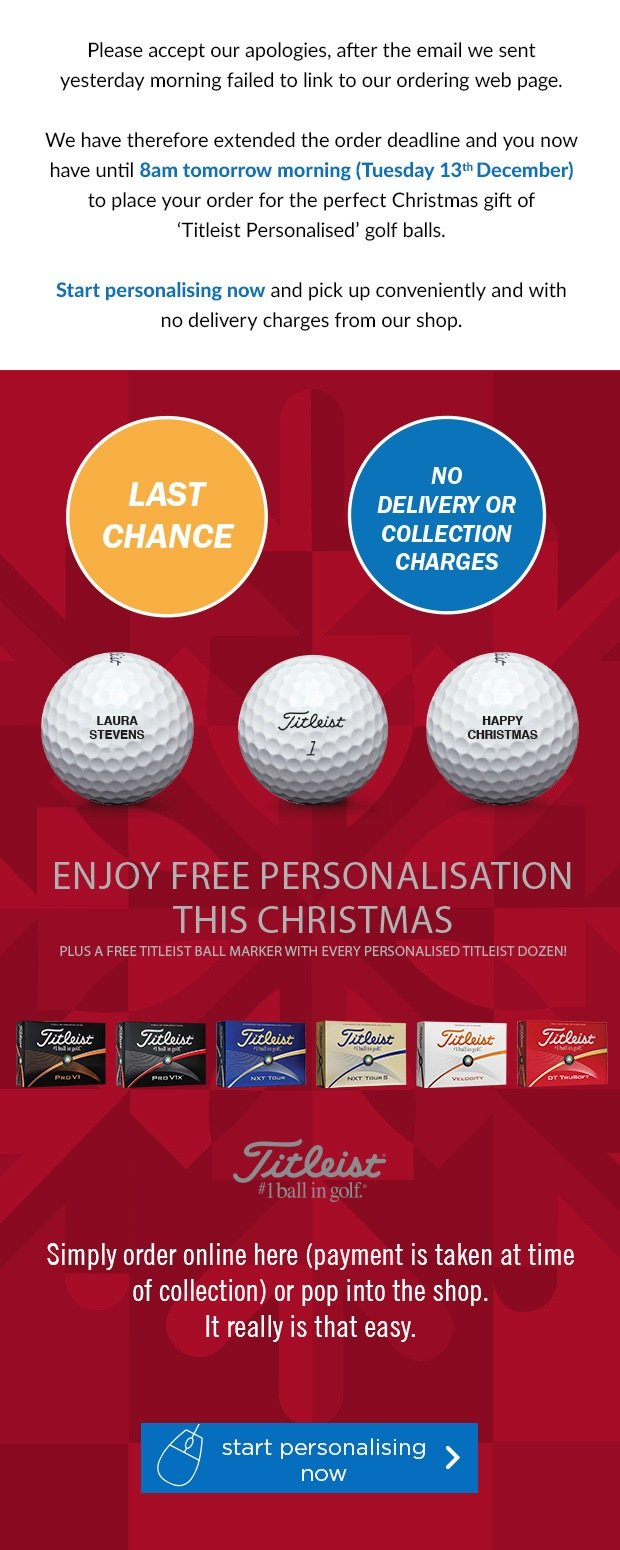 Free Personalisation on Titleist's, from £18.99